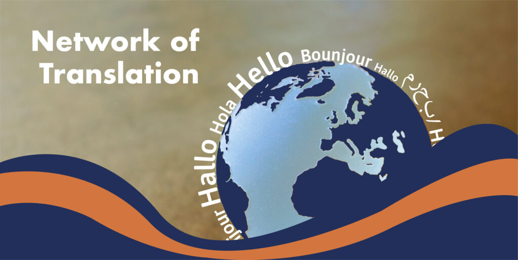 Network of translation banner. Image of the globe surrounded by hello in five different languages